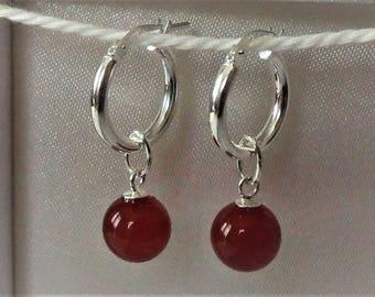 Genuine 925 Sterling Silver Carnelian Creole Hoop Earrings.