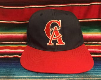 VTG Drew Pearson California Angels Navy and Red Snapback hat