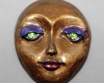 SALE - Bronze Face with Green Eyes Polymer Clay Face Cabochon Art Doll Face Purple Eyeshadow Red Lips