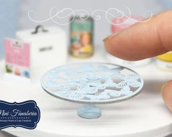 Miniature Blue Cake Stand  with butterflies- handmade dollhouse- one inch scale 1:12