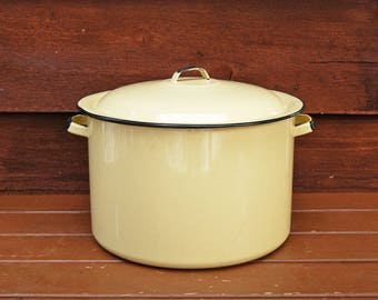 Yellow Enamelware Stock Pot, Vintage Enamel Pot with Lid, Large Soup Pot
