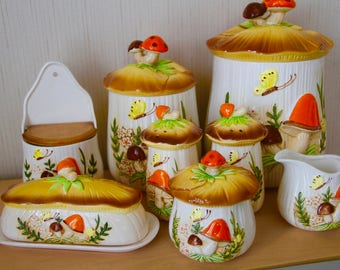 Vintage Merry Mushroom  Canister and Condiments set (8 pieces)