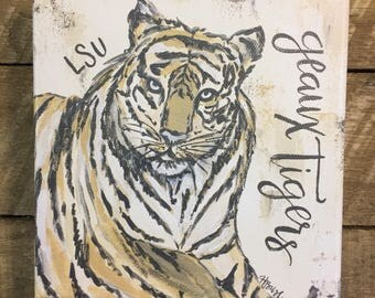 LSU Tigers, LSU art, LSU painting, Louisiana gift, Geaux Tigers, Tiger painting, canvas print, paper print