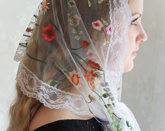 Evintage Veils~Wildflowers Ivory OR Black Floral  LaceWrap Mantilla Floral Vintage Inspired Lace Chapel Veil Scarf Mantilla-