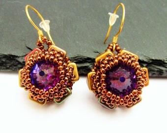 Swarovski Earrings, Beaded Earrings, Vermeil Gold Earrings, Beadwork Earrings, Vintage Swarovski Crystal Earrings, Evening Jewellery
