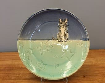Handmade Lunch Plate with Kitty. Glazed in Blue and Aqua. MA108