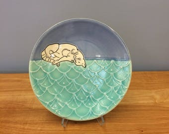 Handmade Lunch Plate, with Frolicking Kitty. Glazed in Blue and Aqua. MA110