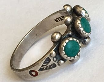 Vintage Zuni Sterling Silver Snake Eye Ring in Size 1 - Vintage, Single Row, Stamped, Three Stone, Hand Made Turquoise Ring Marked STERLING