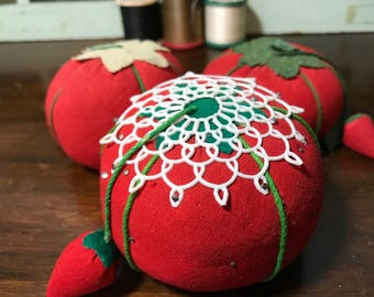 Tomato Pin Cushion Collection - Strawberry Pin Cushions - Vintage Sewing Notions - Sewing Tools - Collectibles - Vintage Farmhouse