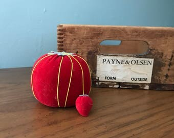 Red Velvet Tomato Pin Cushion with Mini Strawberry Pin Cushion - Vintage Sewing Notions - Sewing Tools - Collectibles - Vintage Farmhouse