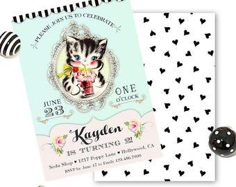 Cat Birthday Invitation, Kitty Cat Birthday Party Invite, Kitty Cat Birthday Invitations Printables, Girl's Birthday 1st 2nd 3rd 4th 5th any
