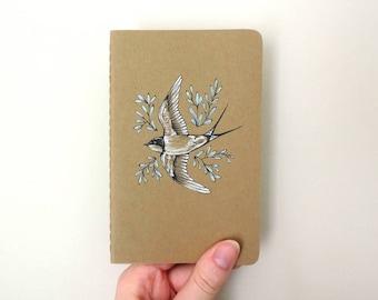 Original Illustrated Swallow Bird Artwork Moleskine Pocket Cahier Kraft Notebook Journal - Hand Drawn Bird Metallic Leaves Design