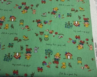 Pinocchio Fabric  by Kokka- Green - fat quarter
