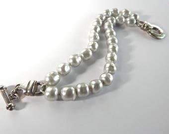 Vintage Carolee Sterling Faux Pearl Bracelet
