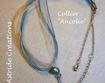 """Columbine"", turquoise organza necklace, Pearl magical turquoise and silver fairy charm"
