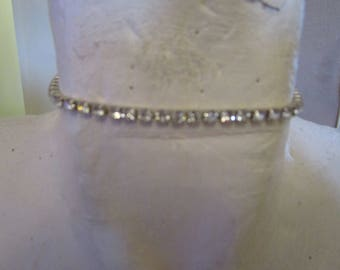 "vintage stretch diamante choker necklace 10""unstretched plus 2.5""chain extension"