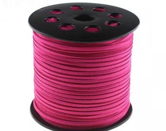 20Yds 3mm Hot Pink  Faux Leather Suede Cord