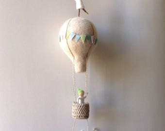 Waldorf inspired needle felted mobile, acrobat pixies, felted gnomes, hot air balloon