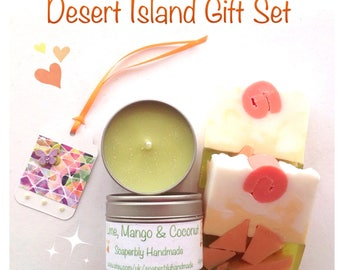 Lime, Mango and Coconut, Gift Set, Soy wax candle, soap slice, with a handmade gift label.