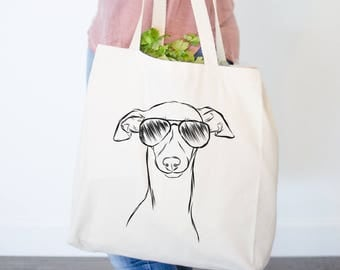 Ziggie the Italian Greyhound / Whippet Dog Canvas Tote Bag
