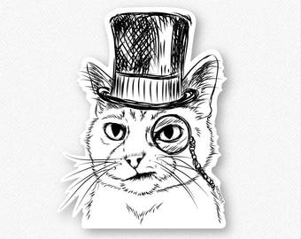 Sir Alfred the Cat Vinyl Decal Sticker - Gift For Cat Owner, Cat Sticker, Cool Cat, Cat Laptop Sticker, Cat decal, dapper cat sticker