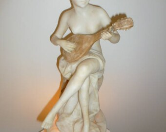 Rare Art Deco alabaster lamp of a lady playing lute circa 1930s