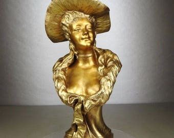 Large French Art Nouveau woman with hat gilt bronze patina bust signed HOTTOT circa 1900s