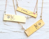 I love you Necklaces by Bare and Me on Etsy/ Handmade Love Necklaces/Sign Language I Love You Necklaces/ Wedding Gift Ideas/Gifts for Mamas
