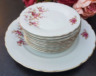 Royal tognana//Vintage//gebaksset//Set of 10 cake plates and serving dish//italia//flowers//second hand dealer//in good condition.