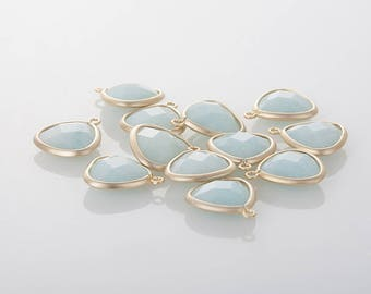 Ice Blue Glass Triangle Pendant  Matte Gold -Plated - 2 Pieces [SS0010-MGIB]