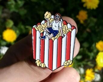 Bite Sized Popcorn, Soft Enamel Pin + Free Vinyl Sticker