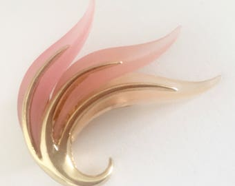 Orena Paris Signed Brooch Vintage Quality Trombone Clasp Gold Pink French