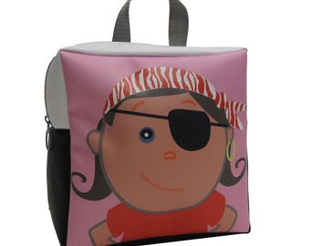 Pirate Lovers Backpack by Little Packrats, Toddler Size Pirate Girl Backpack for Snacks and Toys
