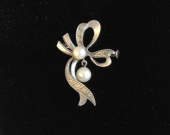 Antique Sterling Silver Pearl Brooch Trombone Clasp, Dangle Pearl Brooch