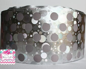 Silver Dots Holographic 3 Inch Grosgrain Ribbon