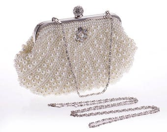 Ivory  Pearl Clutch Bag, Evening Clutch, Bridal Clutch Bag,wedding ivory  pearl clutch  pearl clutch evening clutch pearl