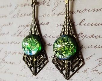 Blue Green Opal Glass Filigree Drop Earrings