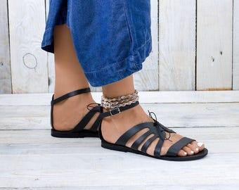 Leather sandals, Greek sandals, Flat sandals, Greek leather sandals, summer shoes, Leather chic sandals IKARIA