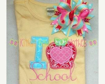ON SALE I Love School Shirt and Matching Hairbow - Bts Shirt - Back to School Shirt - Apple Shirt