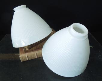 Pair White Glass Light Shades -  White Ribbed Torchiere   Mid Century  - Vintage Lighting Fixture