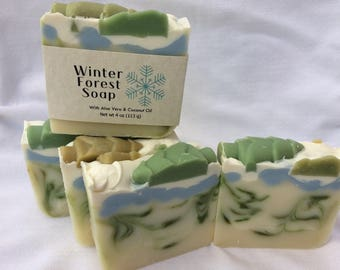 Winter Forest Handmade Soap with Olive Oil and Spirulina