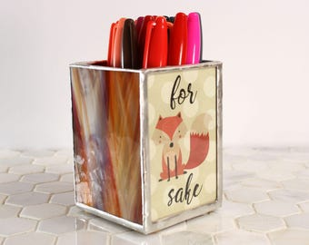 For Fox Sake Pencil Holder, Funny Fox Pen Holder, Office Organization, Swear Word Gift, Play on Words Fox Decor, Adult Humor, Coworker Gift