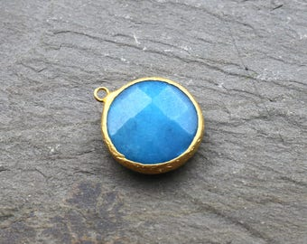 Jade Pendant, Gemstone Pendants, Blue Color Jade Round Pendant 36mm 24K Gold Plated Bezel Charm Pendant - GS054