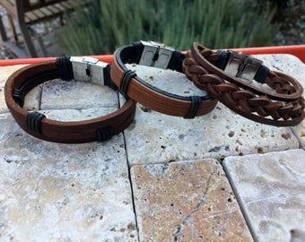 Men's Leather Bracelet Mens Bracelet Gifts Under 20 Boyfriend Gift For Dad Husband Gift Men's Gift Anniversary Gift for Him 3P-16A