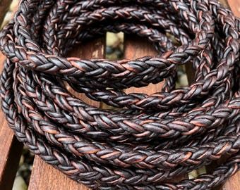 Round Braided Bolo Leather Cord 8 Ply 2mm Natural Antique Brown 8mm Braided Leather 1 Foot - LCBR2