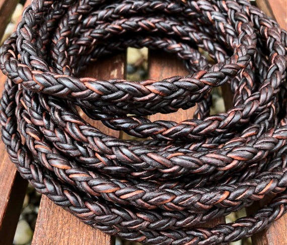 Round Braided Bolo Leather Cord 8 Ply 2mm Natural Antique