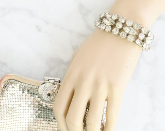 Rhinestone Bracelet for Vintage Wedding - Mad Men - 1950s Holiday Jewelry - Statement Bracelet - Vintage Gift For Her - Bridal Jewelry