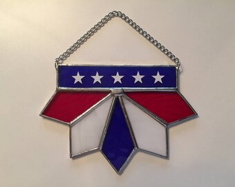Handmade Stained Glass Patriotic Pointed Swag Suncatcher