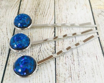 Deep Blue Glitter Hair Slides. Glitter Bobby Pins. Glittery Hair Grips. Handmade Hair Slides. Prom Hair. PACK of 3.  Made in Australia