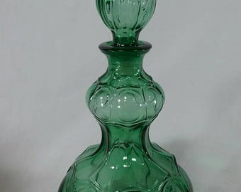 Vintage I dream of genie art glass bottle decanter mid century green